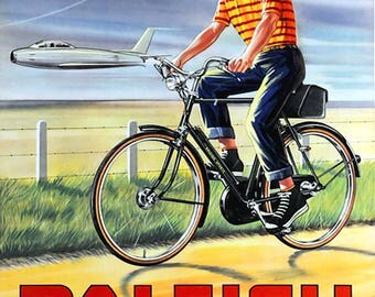 Raleigh Bicycle Sign, Vintage, Retro, Shabby-Chic, Wall Plaque / Fridge Magnet