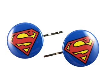 Superman Bobby Pins - Hair Pins Justice League Superhero Supergirl Logo Party Favor Costume Cosplay