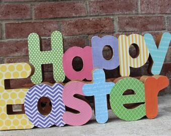 Decoupage Paper Mache Happy Easter shelf sitter, Happy Easter Decor, Happy Easter words