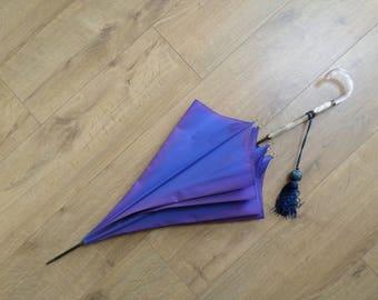 Ladies' Vintage 50's Smart Walking Umbrella - blue,pearly cream - white lucite handle,silky tassel