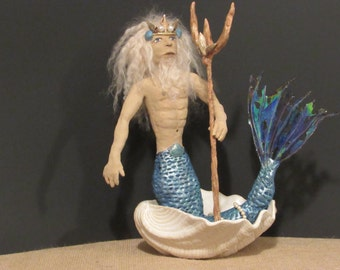 """OOAK Art Doll, Paper Clay Doll, """"Poseidon"""", Handmade Greek God, by Sherry Harrison"""