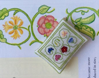 Scrolling Steam Pillow Scale 1:12 for the Tudor&Stuart Dolls House Hand Embroidered by Ingrid Wolf