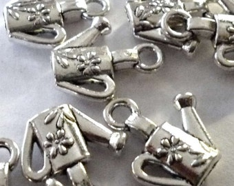 Watering Can with Flower Silver Tone Metal charms - Pack of Five - H264