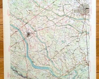 Antique Florence South Carolina 1945 Us Geological Survey Topographic Map Timmonsville Effingham