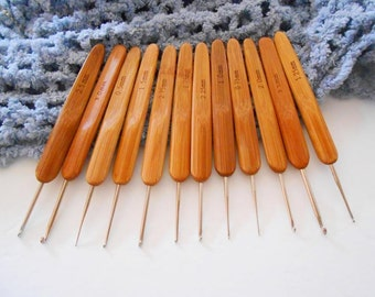 12 Carbonized Bamboo Crochet Hooks Set of 12 Metal Hooks Small Tiny Sizes 0.5 to 3.5 USA Natural Wood Crochet Needles Length 13 cm 5 in DIY