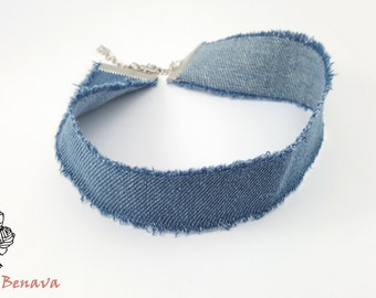 Choker collar necklace denim jeans blue
