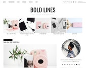 "Premade Blogger Template Responsive Design - Blog Design ""Bold Lines"" - Instant Download - Graphic & Web Design"