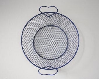 Vintage Blue Coated Metal Wire Basket With Heart Handles