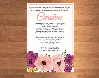 10 First communion Invitations with clear envelope - Printed - 5x7 - christening - english - spanish - baptism invitation