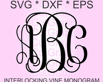 Interlocking Vine Monogram Font SVG, Vine Monogram Font Cut files, Digital Font, SVG Fonts, Alphabet Svg Files for Silhouette, SVG Cricut