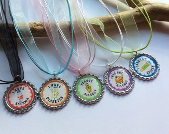 Food allergy, nut allergy, allergy necklace, allergy alert, food allergy products