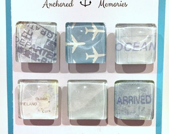 Travel Themed Glass Magnets - Set of 6 - Handcrafted   Plane   Hostess Gift   Party Favors