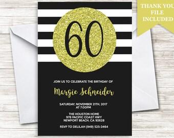 60th Birthday Invitation Invite Adult ANY AGE Black White Gold Stripes Digital Personalized