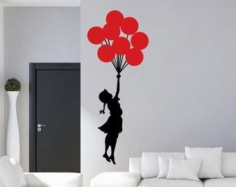 Banksy Floating Balloon Girl Vinyl Wall Decal / Sticker