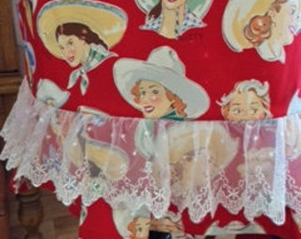 FREE SHIPPING-Western Theme Kitchen/Cowgirl Aprons/Cowgirls and Lace/Buckarettes/Western Apron/Kitchen Aprons/Western BBQ/Kitchen Aprons