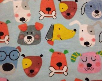 Printed Flannelette fabric, puppy headz, 100% cotton