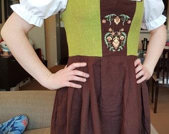 80's Brown and Green Tracht Dirndl Bavarian German Country Oktoberfest Dress, Folk Dress, Corset Dress, Size Small - Medium