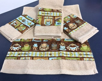 Set of four coffee themed kitchen hand towels dish towels