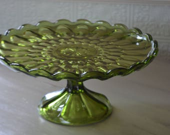 Vintage Green Glass Cake Stand
