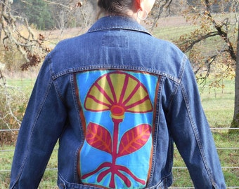upcycled hand painted denim jacket