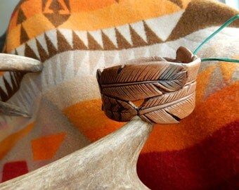 Tooled Feather Cuff