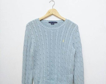 Hot Sale!!! Rare Vintage 90s POLO RALPH LAUREN Small Pony Cable Knitwear Pullover Sweater Hip Hop Swag Medium Size