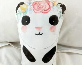 Hand painted Panda Bear Flower Pillow