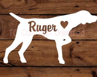 German ShortHaired Pointer - Pointing Dog - Hunting Dog-  Silhouette with Heart and Name -  Vinyl Graphic Decal   Many color options