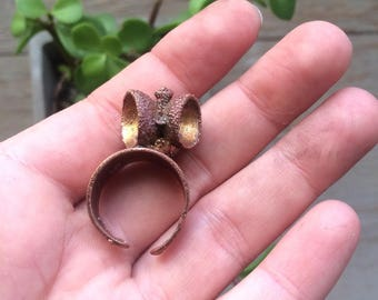 adjustable Acorn caps ring made of copper / / unique / / gifts for you / / boho / / statement ring.