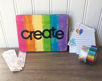 Create wall art, rainbow art, playroom decor, art teacher gift, homeschool room decor, inspirational quote wall art, mixed media wall art