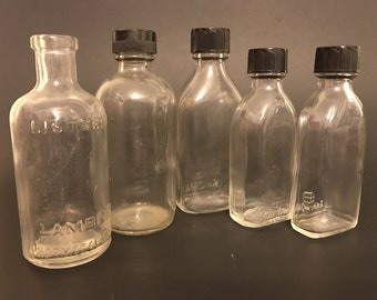 Set of Five Vintage Glass Bottles