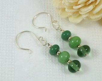 SALE Shades of Green Lampwork Glass Sterling Silver Earrings