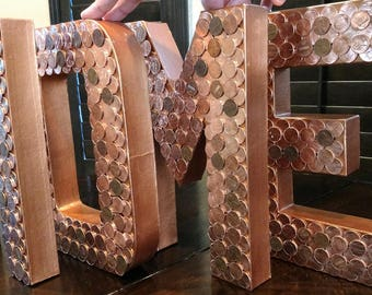 "12"" set of FOUR-Decorative Letters, Copper Letters, Penny Monogram, Penny Sign, Wall Decor, Wall Accents, Summer Decor,Penny Art"