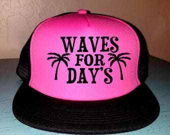 Waves For Days Trucker Hat Snapback Hat Custom Trucker Hat River Rat River Hat Lake Hat Havasu Adjustable Trucker Hat Party Hat Beach Hat
