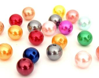 10 large round acrylic beads mixed 14mm