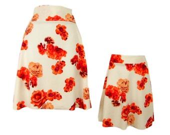 Mother Daughter Matching Skater Skirts, mommy and me matching floral print skirt mothers day matching outfits