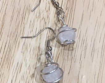 Wire wrapped bead dangle drop earrings/ White marbleized quartzite bead spiral wire wrapped dangle earrings