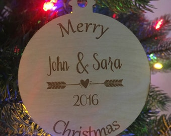 Couple Christmas Ornament With Arrow Heart Year Merry Christmas Wood Christmas Ornament Christmas Tree Ornament Christmas Tree Decor