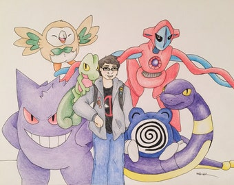 Custom Pokemon Trainer and Team Pencil Illustration
