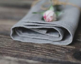 "SET of 6 8 10 12 20 30 40 50 GRAY Linen napkins 14""/ kitchen flax/ linen housewares/ tablecloth/ Wedding/ holiday/"