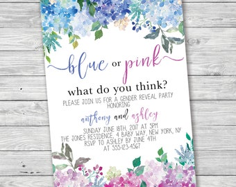 Blue Or Pink What Do You Think Gender Reveal Party Invitation, Printable Invitation, Hydrangea Gender Reveal, Flower Gender Reveal, Summer
