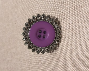 Button Ring, with Purple Button, adjustable
