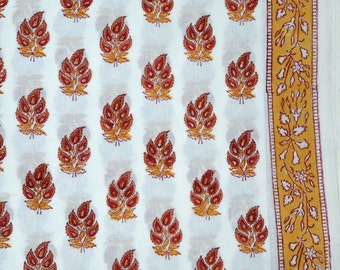 Mustard Yellow and Maroon Hand Block Print Cotton Fabric by the yard