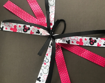 Mickey Ribbon Ponytail Streamers - pink, black or white