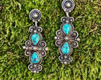 John Begay Jr. Southwestern Turquoise Earrings