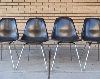 Set of 4 ORIGINAL Herman Miller GREY Molded Fiberglass Side Chairs / Charles Eames Shell Chairs