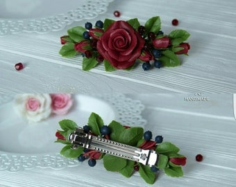 rose barrette, flower earrings, roses earrings, red bride, flower jewellery, bridesmaids earrings, rose hair accessories, cold porcelain