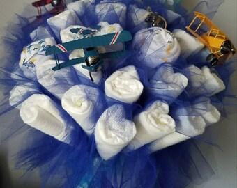 diaper bouquet - airplane shower - baby boy shower centerpiece - baby shower gift - baby boy shower - unique baby gift - baby book bouquet