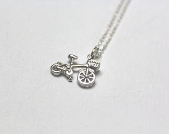 Silver Bicycle  Necklace // dainty sterling silver necklace // with gift packaging