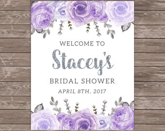 Silver and Purple Bridal Shower Welcome Sign / Purple and Silver Bridal Shower / Purple Rose Bridal Shower / Purple Floral / PRINTABLE / 004